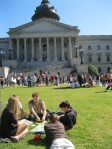 Playing Monopoly on the State House lawn.