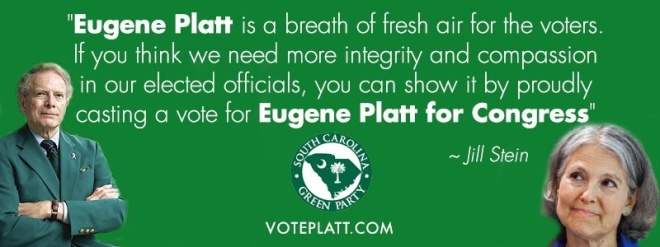 Eugene Platt, Jill Stein, South Carolina Special Election